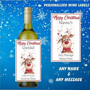 2 Personalised Name Wine Bottle Labels Christmas,Secret Santa Gift , Any Message