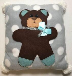 """It's a Boy"" Teddy Bear Gray White Polka Dots Felt Nursery Pillow 14"" x 14"" RARE"