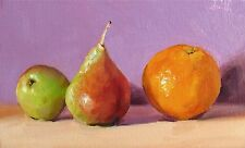 Oil Painting canvas Blush Pears, Orange & Purple; Still Life Original. J Smith