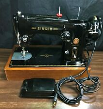 Singer 306M Made Italy Heavy Duty Sewing Machine Vintage Black Foot Pedal Tested