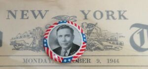 1940 WENDELL L. WILLKIE REPUBLICAN PRESIDENTIAL CAMPAIGN BUTTON & NEWSPAPER