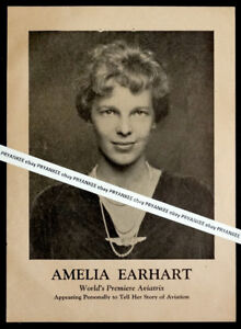 1935 Original AMELIA EARHART Advertising Flyer POSTER for BATTLE CREEK Tour