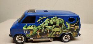 Vintage 1970's Kenner SSP Van, Blue With Green Dragon Design, No Rip Cord