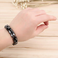 Fashion Black Magnetic Hematite Healing Mens Womens Loose Beads Bracelet OB