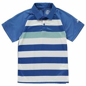 Slazenger Bold Polo a Righe Ragazzi Junior Blu/Bianco Top T-Shirt Giacca
