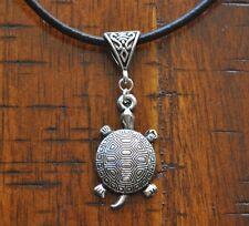Sea Turtle Antique Silver Pendant Leather Necklace Beach Surfing Dive Salt Life