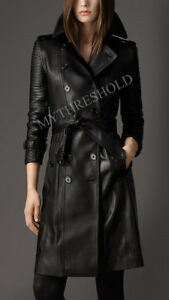 Women Black Genuine Real Leather Trench Coat