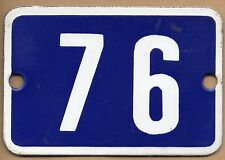 Cute old blue French house number 76 door gate plate plaque enamel metal sign