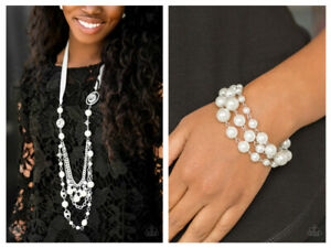 NWT! Paparazzi All The Trimmings White Necklace & Bracelet 2 Piece Set