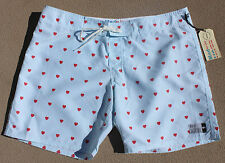 NEW Men's AMBSN CUPID Board Shorts LIGHT BLUE w/ RED HEARTS - USA MADE - Size 36