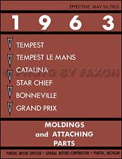 1963 Pontiac Chrome Tim Molding Catalog Bonneville Catalina Grand Prix Tempest