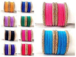 Indian Traditional 16pcs Glass Velvet Bangles Fashion Jewelry Size 2.4,2.6,2.8 .