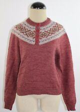 Vintage 70's Maroon Red Acrylic Ski Sweater by Susan Ess Size Large