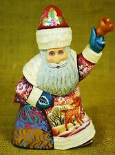 "Father Frost Russian Santa Claus Carved Wood 7"" Handpainted Signed Bell Deer"