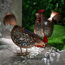 2 x Metal Hen Solar Lights Garden Ornamental Solar Lights Silhouette Animals UK