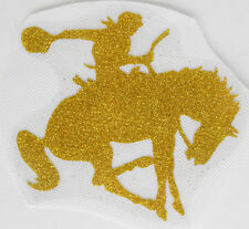 LD81 IRON ON TRANSFER glitter foil gold cool COWBOY HORSE 4 inches width L@@K