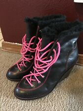 Michael Kors Black Leather Lace Up Fur Lined Women's Ankle Wedge Boots 7