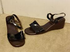 Vintage Joyce Wedge Heeled Sandals Patent Leather Black Ankle Strap Size 10