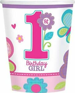 Sweet Girl Butterfly Flower Cute Kids 1st Birthday Party 9 oz. Paper Cups