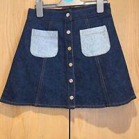 Beyond Retro Ladies Denim Short Skirt - Dark Blue Size XS (UK 8) Mini Poppers