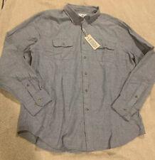 SOUTHERN TIDE Regular Fit Brushed Twill Blue Cotton Long Sleeve Shirt Sz XL $110