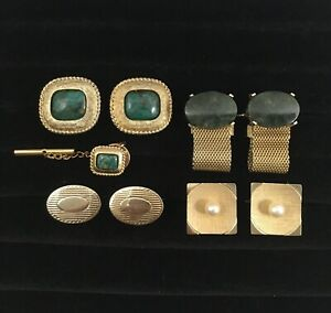 Cufflink Lot 15 Green Agate Stone Gold Tone Oval Square Faux Pearl Mesh Wrap VTG