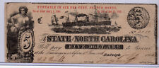 1863 Civil War Obsolete Currency - State of North Carolina $5 Dollars - Raleigh*