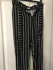 Pull and Bear Black & White Stripe High Waisted Tie Belt Trousers Size Eur L