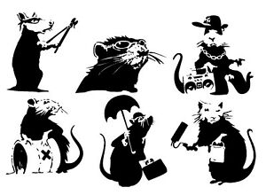 Banksy RATS Vinyl Mural Wall Art Sticker Self Adhesive Choice of Size & Rat