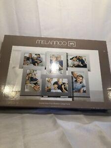 NIB Melannco Brushed Antique Silver Finish Aluminum Collage Frame Six 4x6 photos