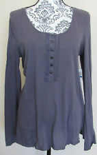 NWT - ENERGIE dark gray long sleeve pullover top w/ lace trim, Size XL
