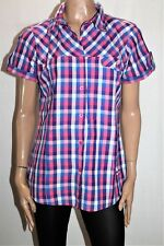 Izas Brand Pink Blue Check Short Sleeve Collared Shirt Size XL BNWT #TM10