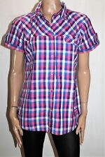 Izas Brand Pink Blue Check Short Sleeve Collared Shirt Size M/L BNWT #TM10