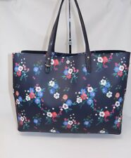 7d44f34f708 Tory Burch Kerrington Large Square Tote Pansy Bouquet Navy Blue Floral