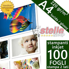 100 FOGLI CARTA FOTOGRAFICA A4 GLOSSY LUCIDA 220 GR DOPPIO LATO STAMPABIL INKJET