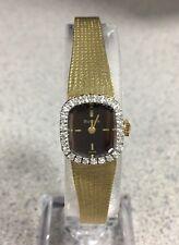 Vintage BULOVA 26 diamond 14k gold watch solid 14k case/band Serviced Signed 4x