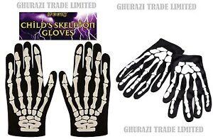 Skeleton Gloves Bone Print Adult & Kids Halloween Unisex Fancy Dress Accessory