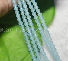"4mm Brazilian Natural Light Blue Aquamarine Gems Round Loose Beads 15"" Strand"