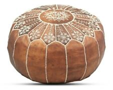 Moroccan Leather Pouf. Brown Ottoman Footstool Chair Embroidery on the top