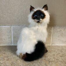 Realistic Lifelike Sitting Cat Figurine Flaw Rabbit Fur Furry Birman Himalayan