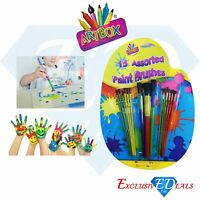 Children's Painting & Art Brushes - Pack of 15 - Fun Assorted Paint Brushes