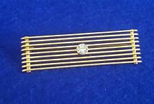 Striking Bespoke Post WWII 14ct Gold Brooch w Brilliant Cut Round Diamond 4.9g