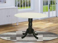 "East West Dublin 42"" round drop-leaf pedestal kitchen table linen white & black"