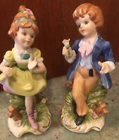 Vintage Ceramic Little Girl and Boy Figures