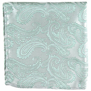 New Brand Q Men's  micro fiber Pocket Square Hankie Only paisley Mint Green