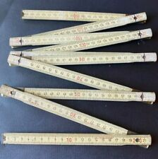 Vintage French 1950s Duralumin 1 Metre Folding Ruler in Centimetres with brass hinges carpenters artisan old fashioned design and quailty