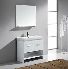 "Glora 36"" Single Bathroom Vanity Cabinet WHITE/Ceramic Top/Square Sink/Mirror"