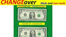 ~ Changeover ~ 1993 E/B = Mule and NON-Mule consecutive #'s $1.00 FRN's