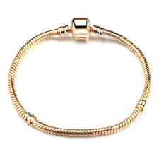 Snake Chain Gold Plated Charm Bracelets Fit European Beads Without Logo 17cm