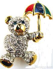 Bear with Umbrella Brooch Enamel & Crystal Teddy